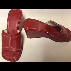 Coach slide on leather wedge